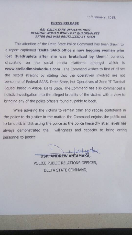 6541556 dtvxo5bwkaaka9w jpeg531bcfef175d3ec9f7786338d3c316b0 - Press Release Delta Sars Officers Now Begging Woman Who Lost Quadruplets