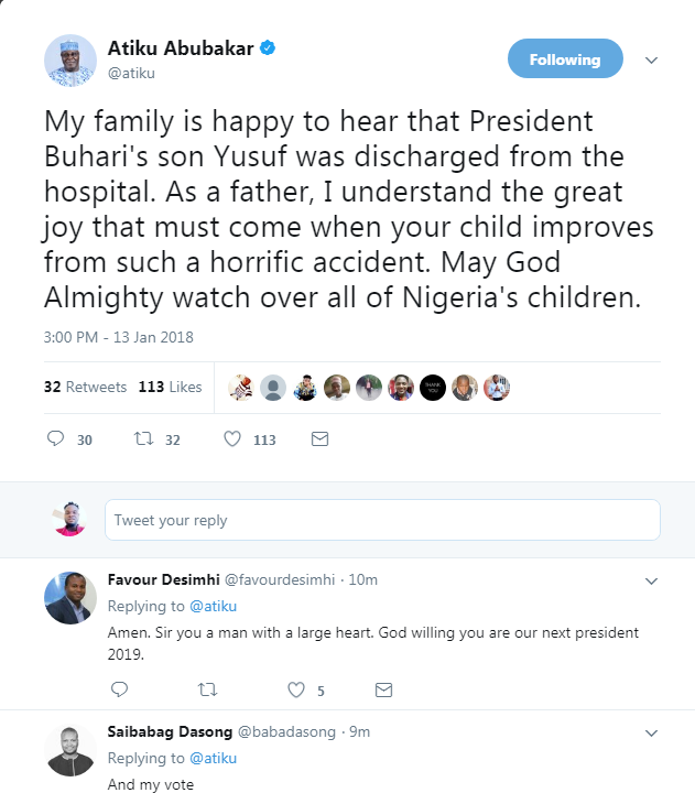6547643 screenshot1 png23084232167afd48409f2a3f8802a82a - Atiku Celebrates President Buhari's Son, Yusuf, As Discharged From The Hospital