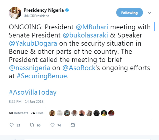6552501_screenshot1_png23084232167afd48409f2a3f8802a82a President Buhari, Saraki And Dogara In Closed Door Meeting At Aso Rock