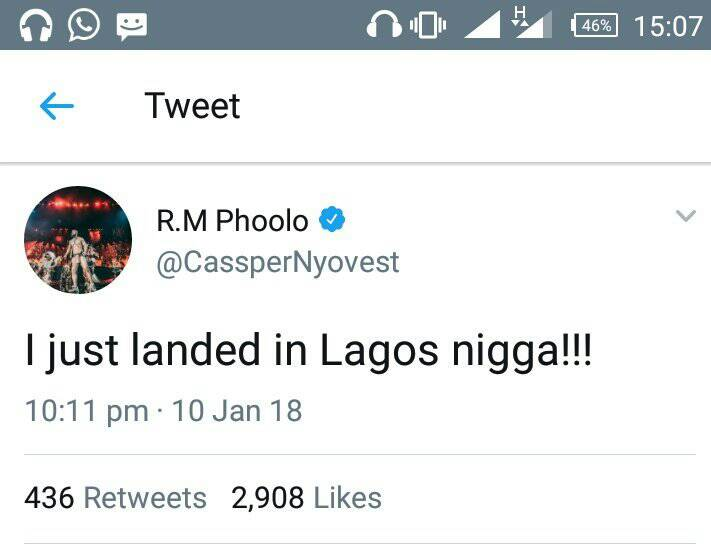 SHAME!!!:  Married Woman Begs Singer Cassper Nyovest To Fertilize Her As He Lands In Nigeria