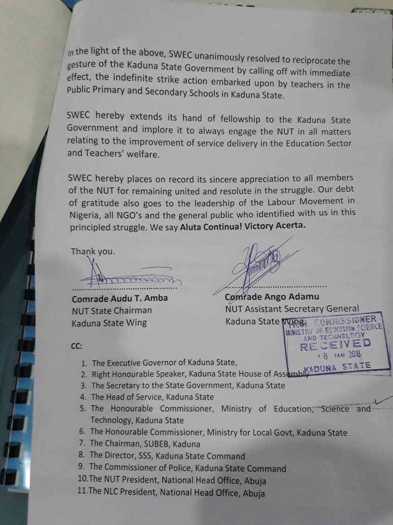 Kaduna Teachers Call Off Strike Reach Agreement With El Rufai See