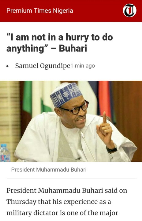 """""""Why I Am Not In A Hurry To Do Anything"""" – President Buhari Reveals"""