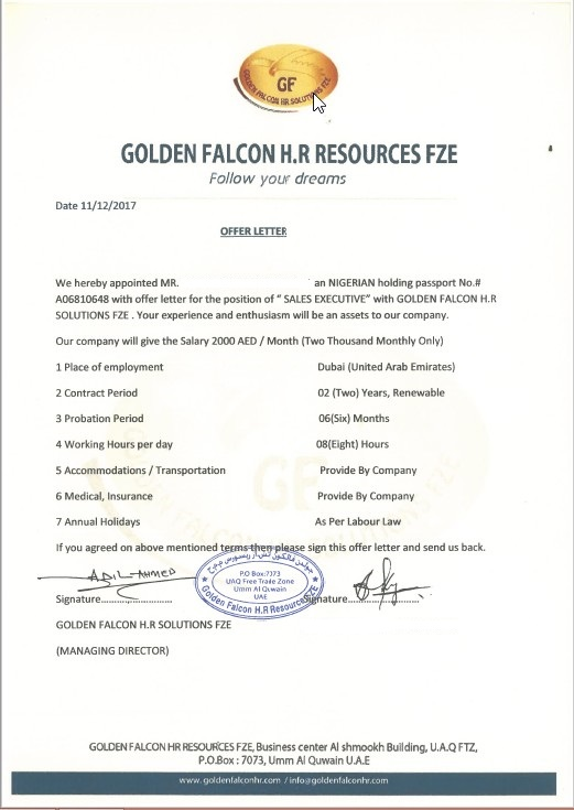 Scam Warning Golden Falcon Hr Resources Fze In Dubai Uae Is Fake