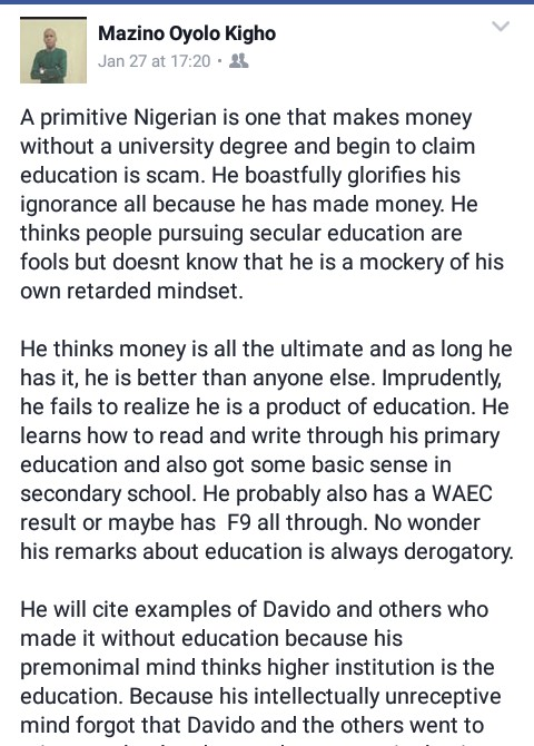 """Davido Is A Primitive Nigerian For Making Money Without A Degree"" – Fb User"