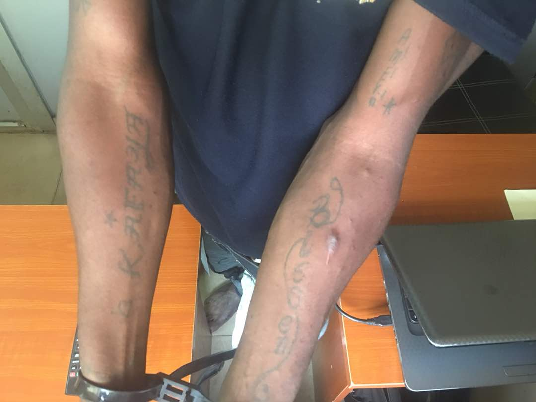 Phone Thief, Ex-convict, Tattooed Names Of Ladies He Has Slept With (Photos)