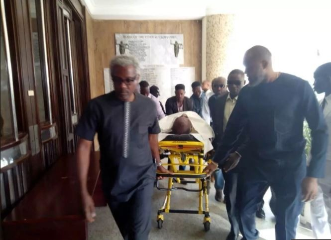 Image result for Olisa Metuh Wheeled To Court On Stretcher