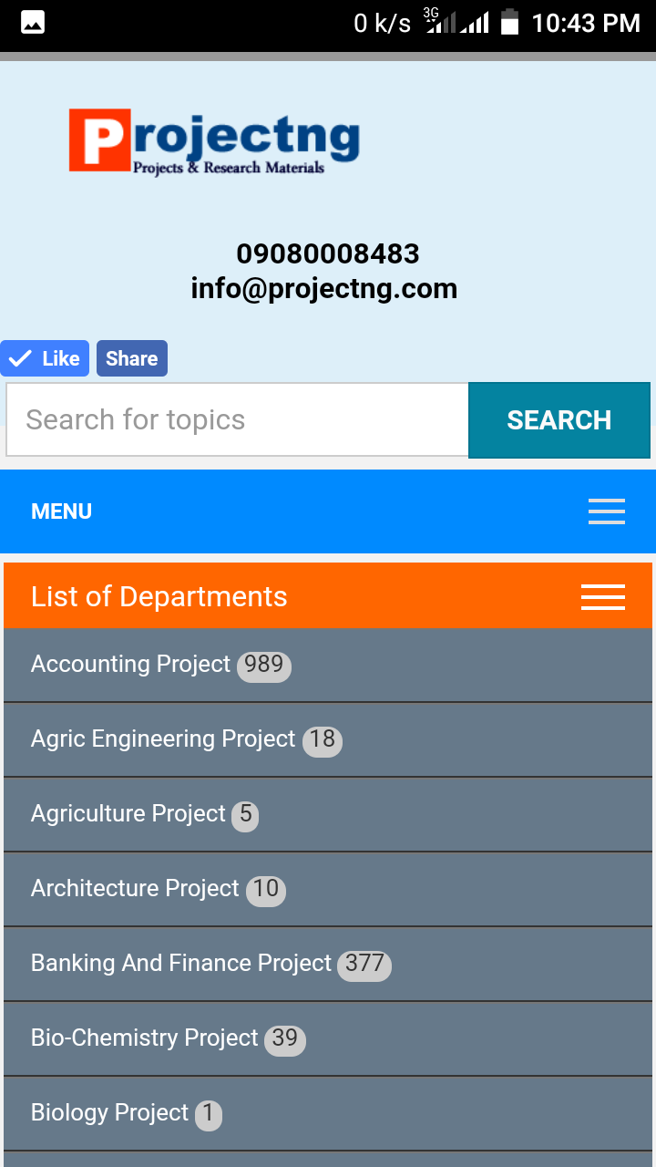2018 Project Topics And Research Materials  Download Final