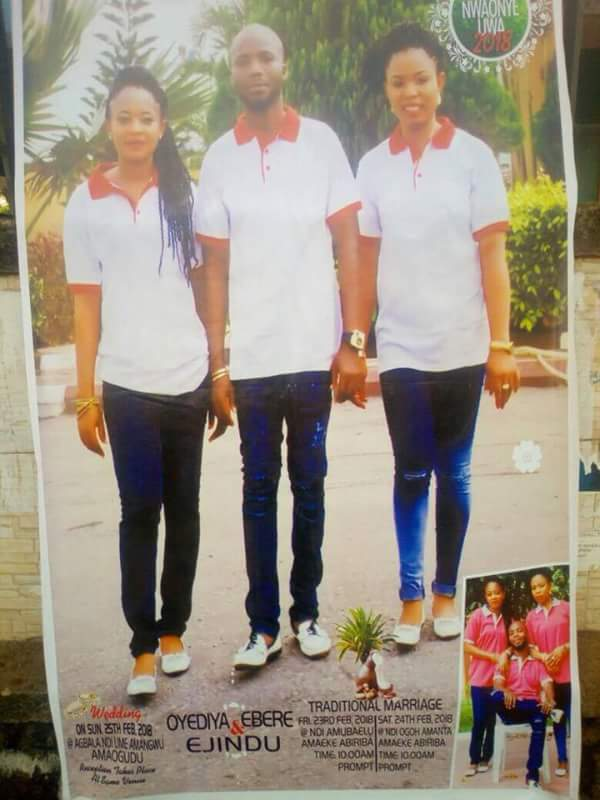 LORD!!!:  Man Set To Wed Two Beautiful Ladies Same Day In Abia (Photo)