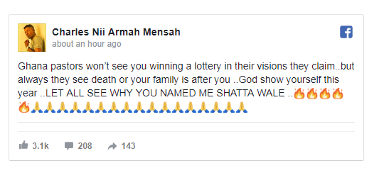 """6679179_screenshot4_png4d2a82a67661cacbb6ad521fca1a299e """"If By December Am Alive, I Will Break Churches"""" – Shatta Wale Reacts To Prophecy"""
