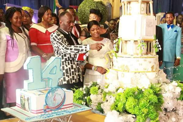 Apostle Suleman Celebrates 14th Anniversary Of His Church. See His Very Tall Cake