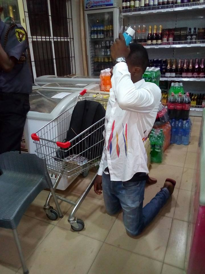 See Man Caught Stealing Perfume For His Girlfriend In Supermarket On Valentine's Day