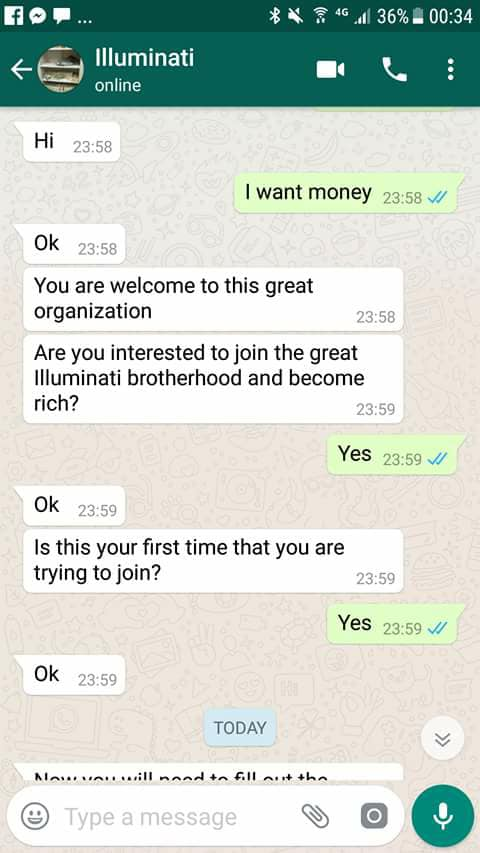 Screenshot: Between A Student Who Wants To Join Illuminati And A Supposed Member