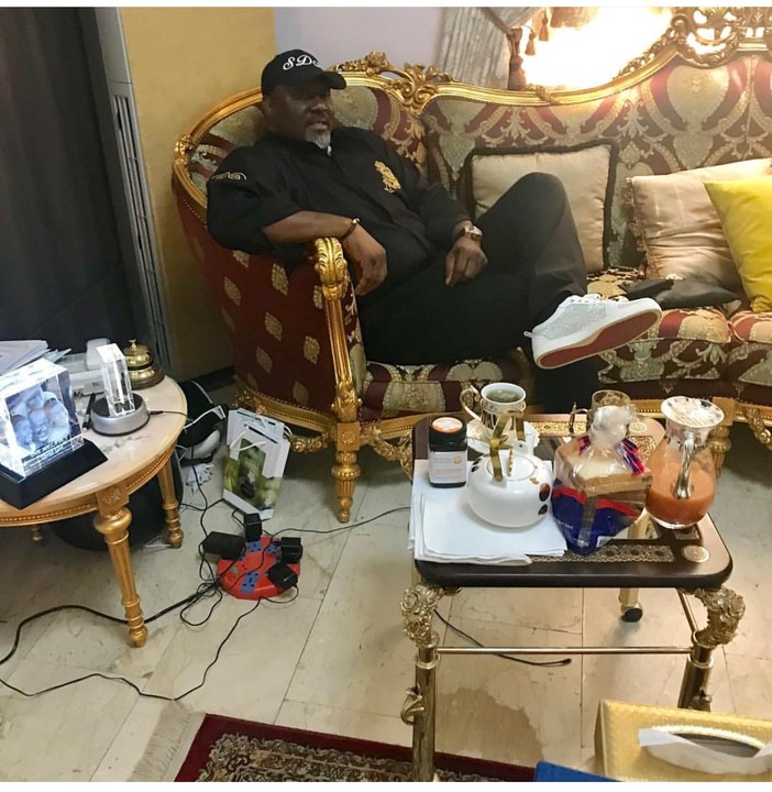 Dino Melaye Poses In His Mansion With Tea & Bread, Calls On Nigerians To 'Yab' Him
