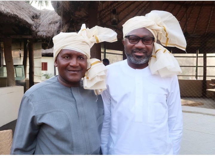 Billionaire Friends, Dangote And Otedola Tie Indian Head Scarf, Pose Together (Photo)