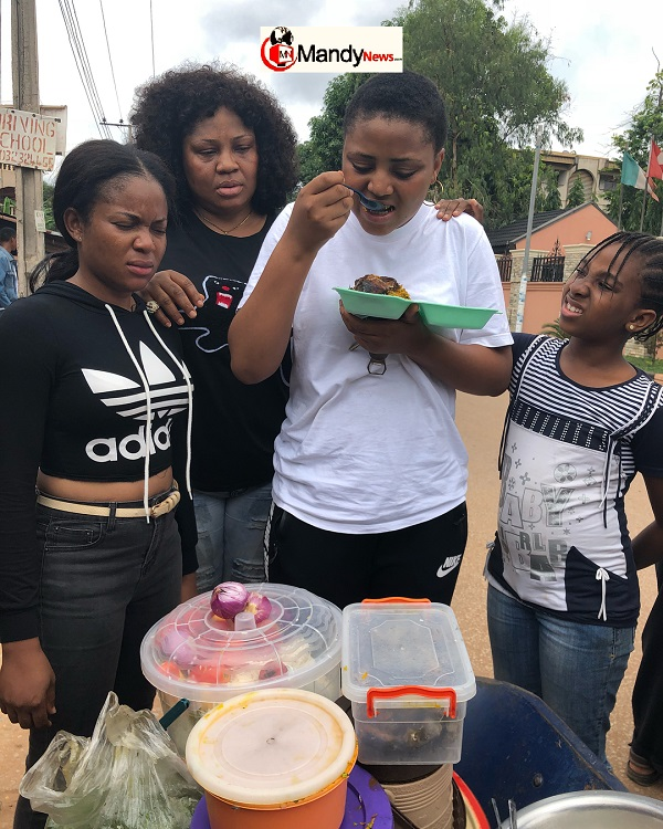 Regina Daniels Was Pictured Eating Abacha By The Roadside (photos)