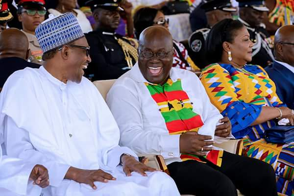 President Buhari Laughs Hard With Ghana President At Ghana's 61st Independence (Pics)