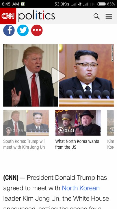 SHOCKING!!!:  Trump Agrees To Meet North Korean Leader, Kim Jong Un In May