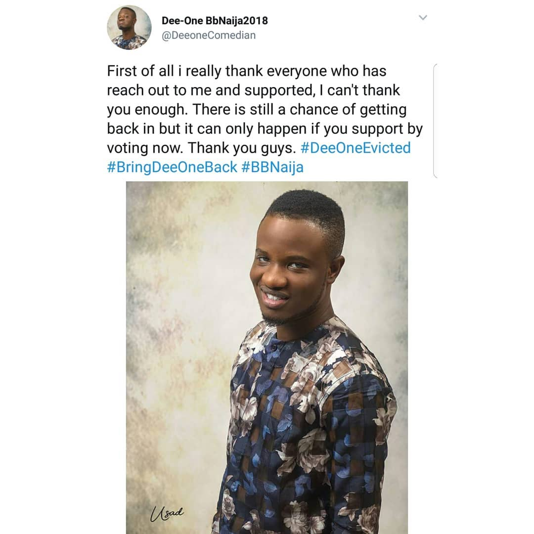 """I Forget Something For The House"": Dee-One Wants To Be Voted To Return To BBNaija"