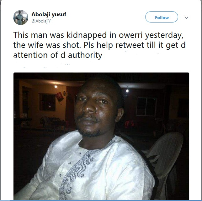PHOTO: Man Kidnapped By Unknown Gunmen In Owerri, Wife Shot In The Process
