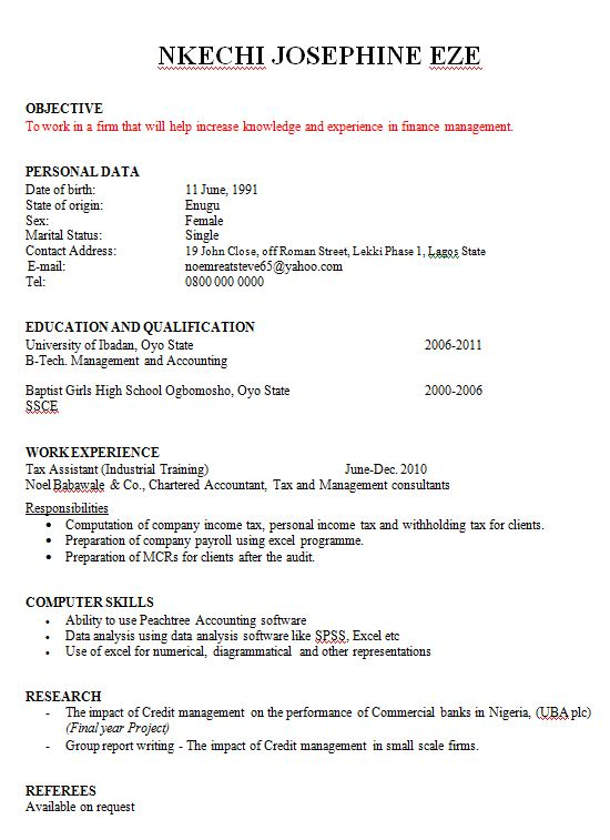 Sample Resume Format for Fresh Graduates (Two-Page Format)