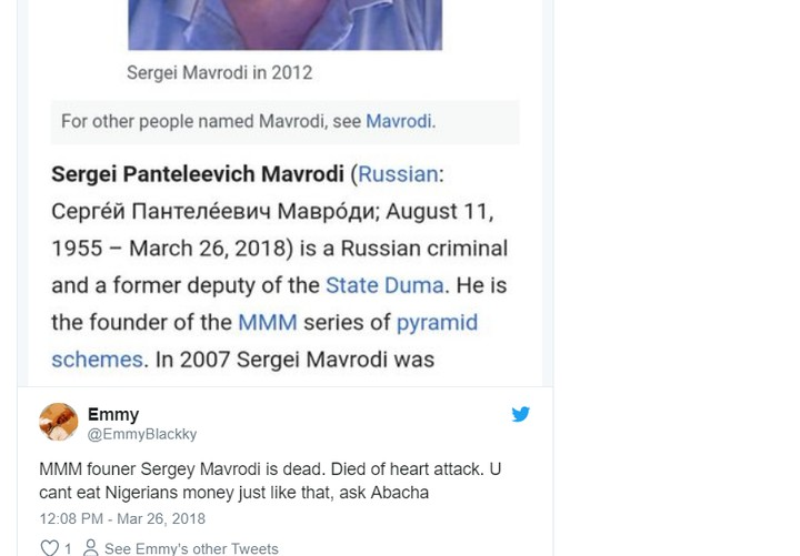 """Nigerians React To Sergei Mavrodi's Death: """"You Can't Eat Our Money, Ask Abacha"""""""
