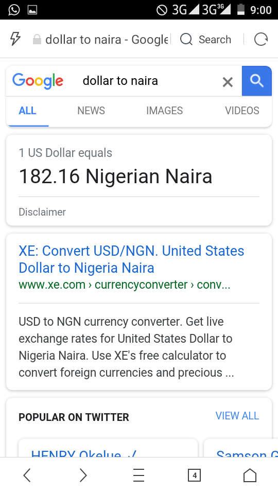 Re Dollar Crashes Greatly Against Naira Now N182 To 1dollar By Anowrite 9 10pm On Mar 27 2018