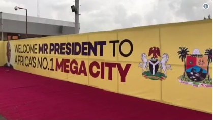 President Buhari Arrives Lagos State In Style (Photos)
