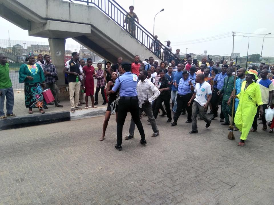 See What Happened To Lady Who Tried To Use A Bridge Shut Down Because Of Buhari