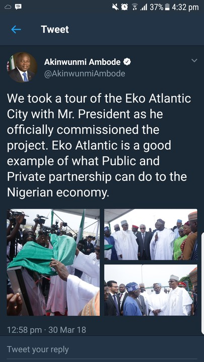 Presidency Denies Ambode's Tweet That Buhari Commissioned Eko Atlantic City