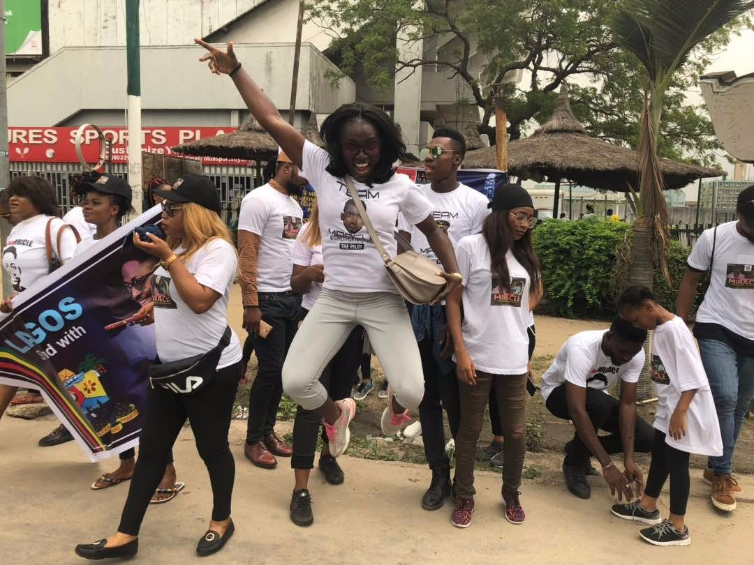 #bbnaija: Miracle's Fans Held A Rally For Him Today, See Photos