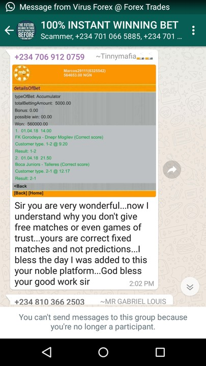 100% Instant Winning Bet Whatsapp Group Is A Scam(pic