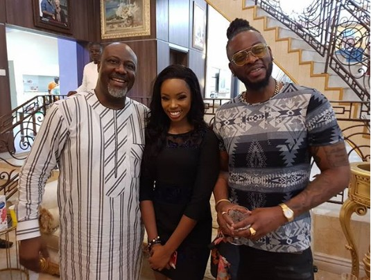 BBNaija: Senator Dino Melaye Hosts Bambam And Teddy A In Abuja (Photo)