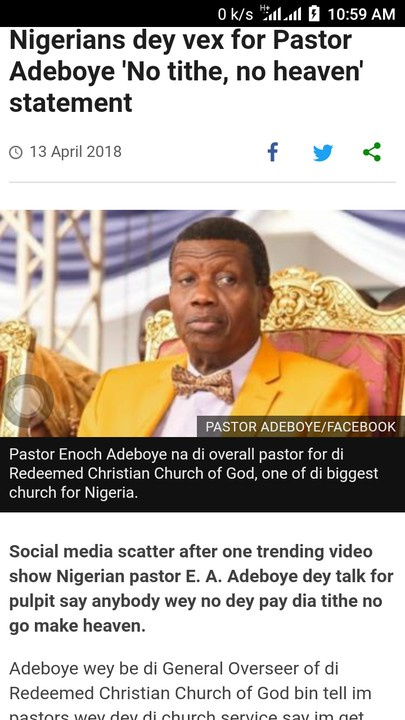 Nigerians Dey Vex For Pastor Adeboye 'No Tithe, No Heaven' Statement – BBC Pidgin