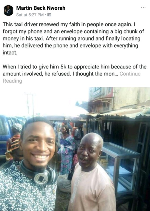 {filename}-Taxi Driver Returns Passenger's Phone And Money, Rejects N10k Gift