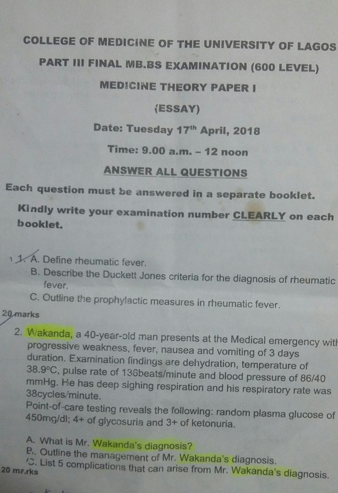See What 'Black Panther' Has Caused In Final Year Medical Students' Exam (Photo)