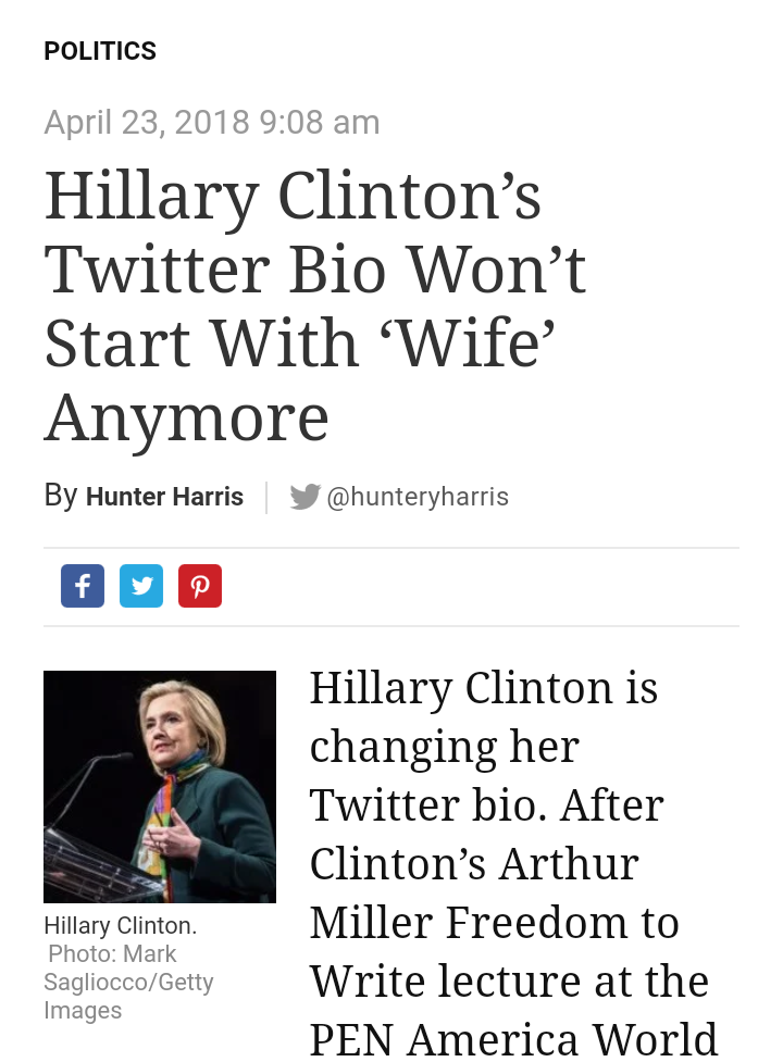 {filename}-Hillary Clinton To Change Her Twitter Bio After Chimamanda Adichie's Criticism