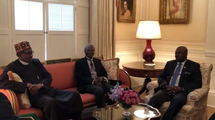 President Buhari Arrives Blair House For Meeting With Donald Trump (Video)