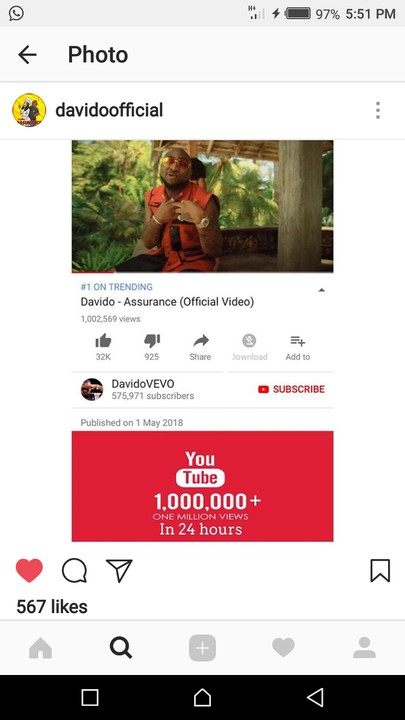 """Davido's Song """"Assurance"""" Featuring Chioma, Hits 1 Million Views In 24 Hours"""