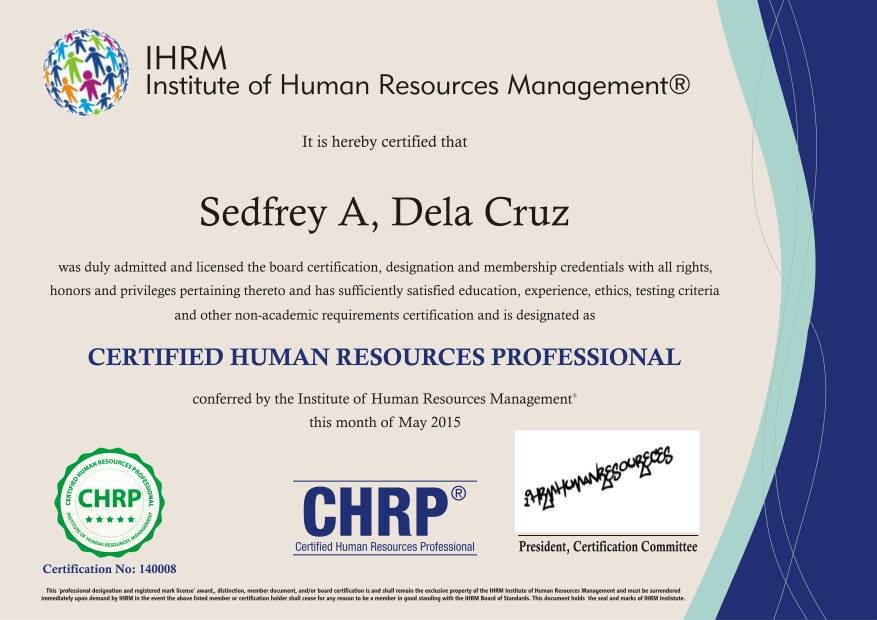 Become A Certified Human Resource Professional Chrp Certification