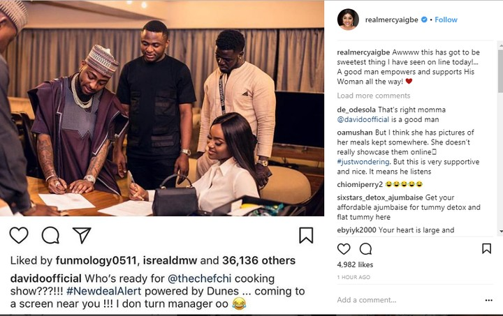 Actress Mercy Aigbe Reacts To Davido Getting A Cooking Show Deal For Chioma