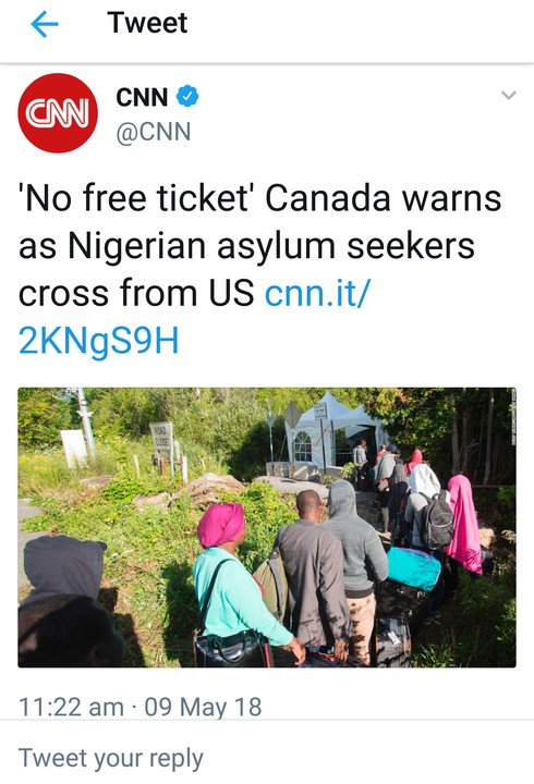 'No Free Ticket': Canada Warns As Nigerian Asylum Seekers Cross From US (Photo)
