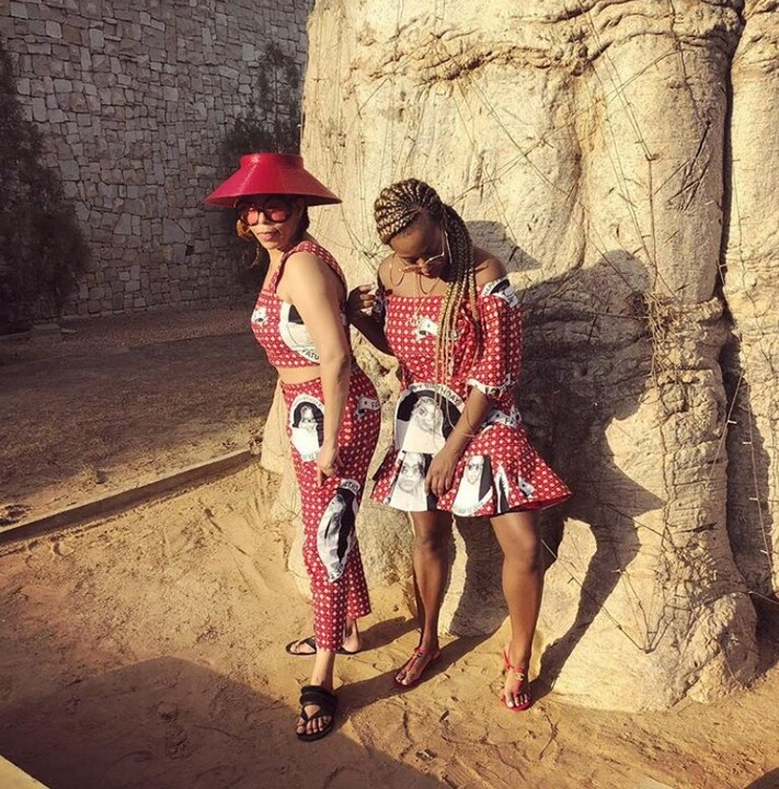 DJ Cuppy And Her Mum Strike A Pose In Matching Ankara Oufits