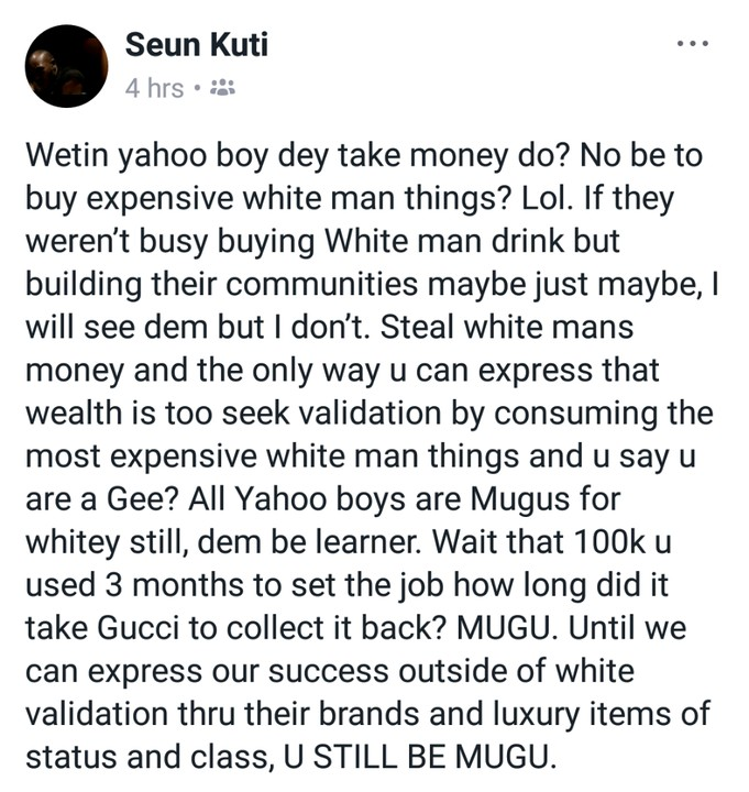 """Why Yahoo Boys Are Still Mugus To The Whites"" – Fela's Son, Seun Kuti"