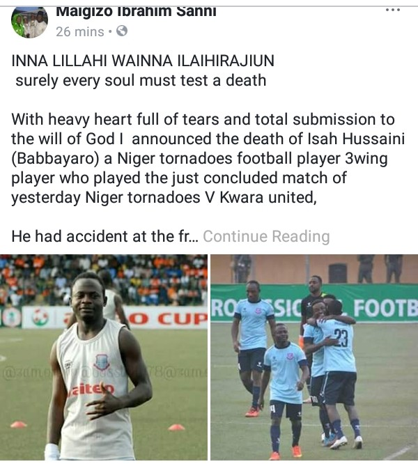 Isah Hussaini Dies In Accident (Niger Tornadoes Player