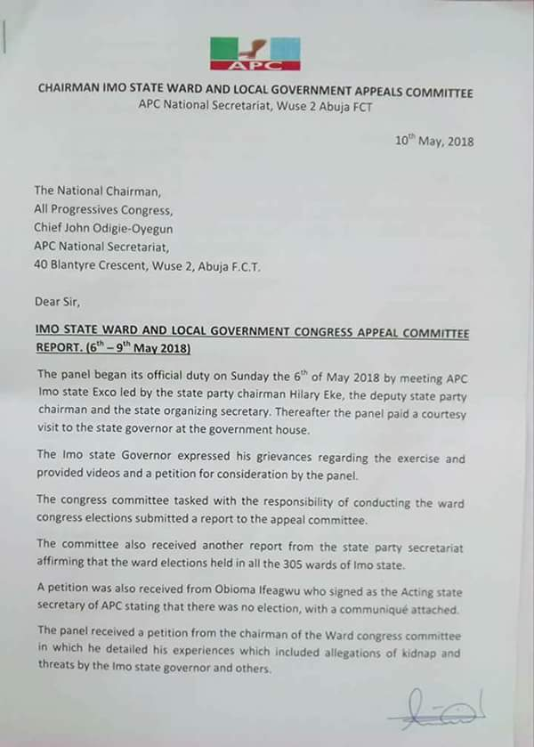 {filename}-Report Of Imo State Ward Congress Appeal Committee (photos)