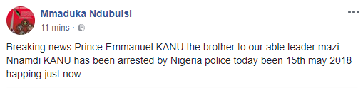 Nnamdi Kanu's Younger Brother Arrested