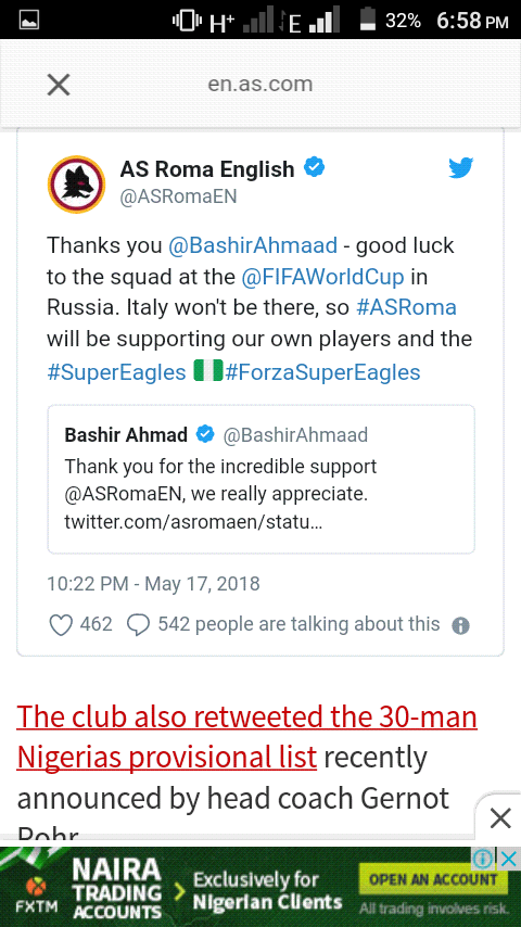 75401f65c They also tweeted the super eagles 30 men provisional list. Below are  screenshots from their tweet.