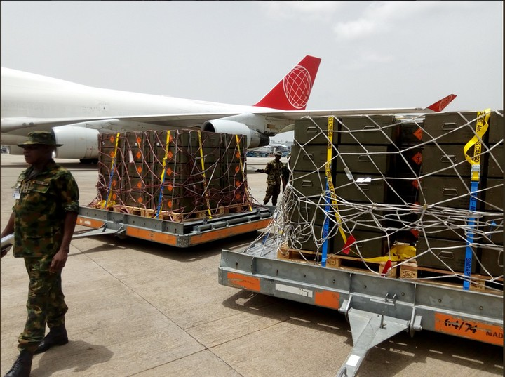 BREAKING!!!: Large Cache Of Assorted Arms And Ammunition Touch Down At Abuja Airport. Photos