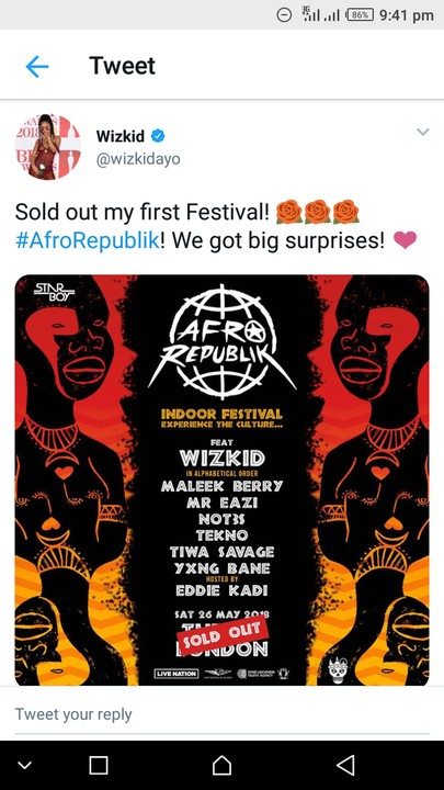 Wizkid Just Sells Out 20,000 Capacity 02 Arena