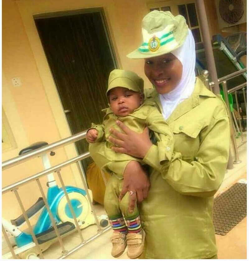 BEAUTIFUL!!!:  Female Corper And Her Child Rock NYSC Kaki In Adorable Photos